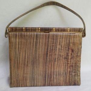 Andrew Geller Brown Wood Grain Pattern Handbag